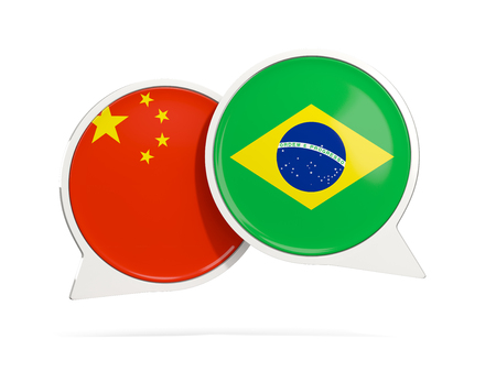 Chat bubbles of China and Brazil isolated on white. 3D illustration
