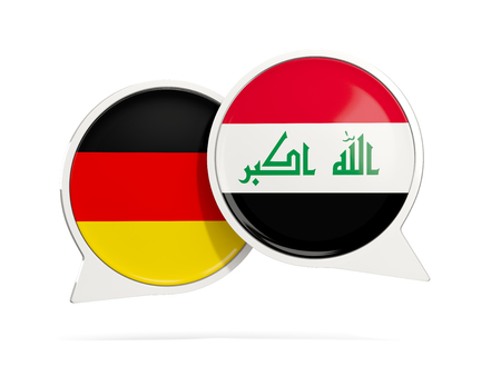 Chat bubbles of Germany and Iraq isolated on white. 3D illustration