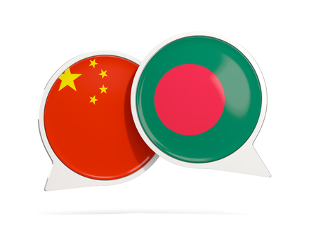 Chat bubbles of China and Bangladesh isolated on white. 3D illustration Stock Photo