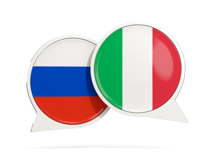 Chat bubbles of Russia and Italy isolated on white. 3D illustration