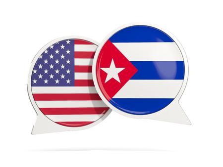 Charle las burbujas de los EEUU y de Cuba aislado en blanco. Ilustración 3D