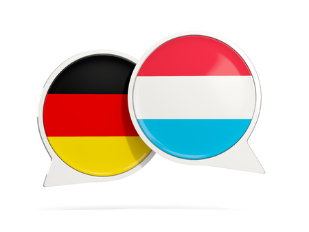 Chat bubbles of Germany and Luxembourg isolated on white. 3D illustration Stock Photo