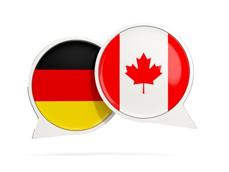 Chat bubbles of Germany and Canada isolated on white. 3D illustration Stock Photo
