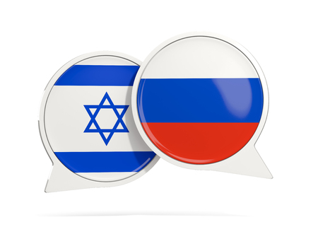 Chat bubbles of Israel and Russia isolated on white. 3D illustration