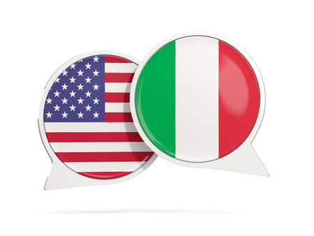 Chat bubbles of USA and Italy isolated on white. 3D illustration