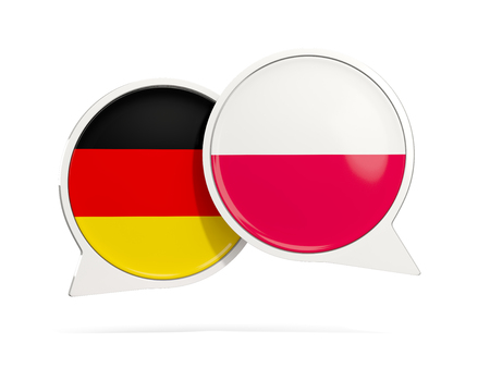Chat bubbles of Germany and Poland isolated on white. 3D illustration