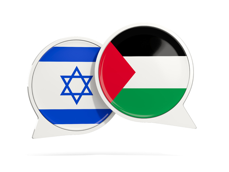 Chat bubbles of Israel and Palestine isolated on white. 3D illustration