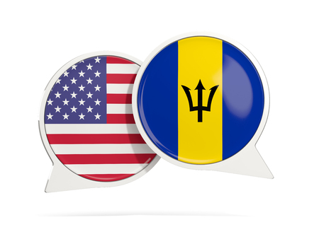 Chat bubbles of USA and Barbados isolated on white. 3D illustration