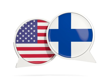 Chat bubbles of USA and Finland isolated on white. 3D illustration