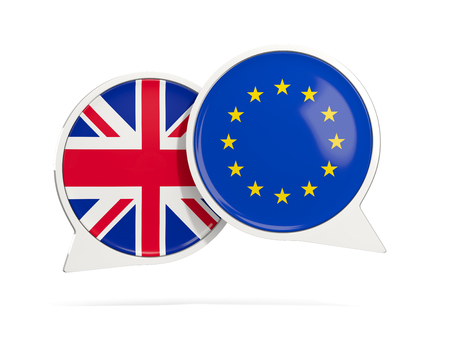 Chat bubbles of UK and EU isolated on white. 3D illustration Stock Photo