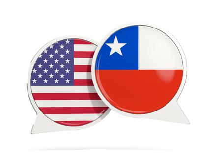 Charle las burbujas de los EEUU y de Chile aislado en blanco. Ilustración 3D Foto de archivo