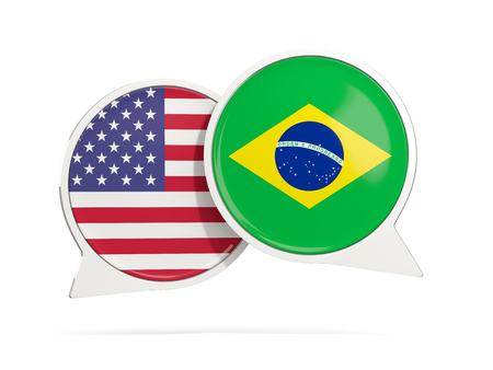 Chat bubbles of USA and Brazil isolated on white. 3D illustration Imagens