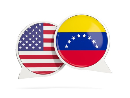 Chat bubbles of USA and Venezuela isolated on white. 3D illustration