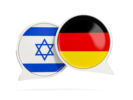 Chat bubbles of Israel and Germany isolated on white. 3D illustration Stock Photo
