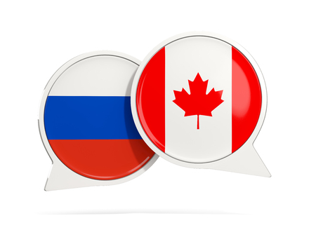 Chat bubbles of Russia and Canada isolated on white. 3D illustration Stock Photo