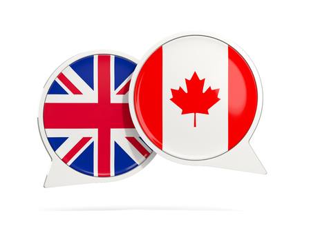 Chat bubbles of UK and Canada isolated on white. 3D illustration