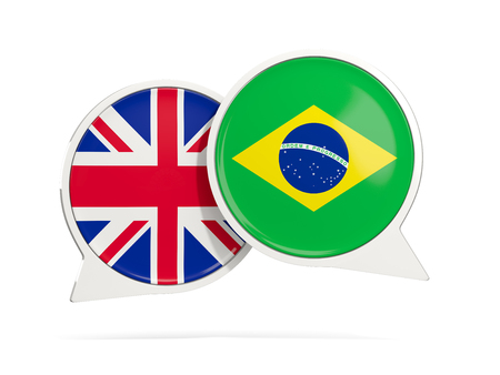 Chat bubbles of UK and Brazil isolated on white. 3D illustration Stock Photo