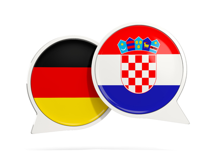 Chat bubbles of Germany and Croatia isolated on white. 3D illustration Stock Photo
