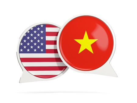 Chat bubbles of USA and Vietnam isolated on white. 3D illustration Stock Photo
