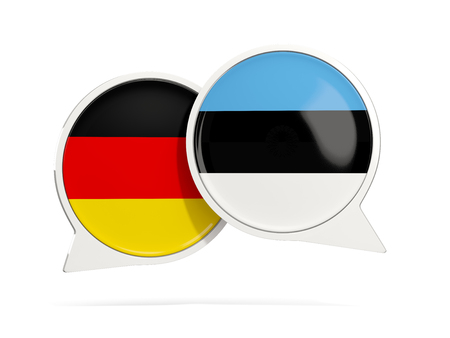 Chat bubbles of Germany and Estonia isolated on white. 3D illustration Stock Photo