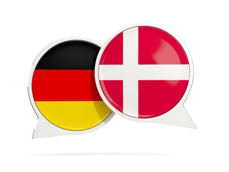 Chat bubbles of Germany and Denmark isolated on white. 3D illustration