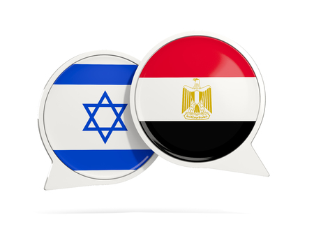 Chat bubbles of Israel and Egypt isolated on white. 3D illustration