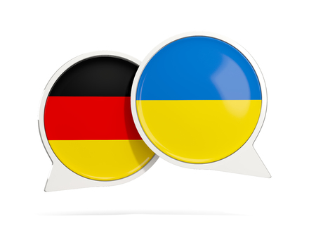 Chat bubbles of Germany and Ukraine isolated on white. 3D illustration