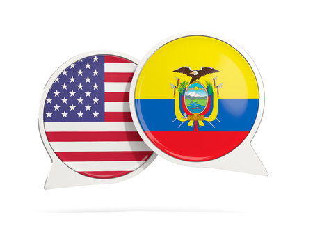 Chat bubbles of USA and Ecuador isolated on white. 3D illustration Stock Photo