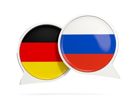 Chat bubbles of Germany and Russia isolated on white. 3D illustration