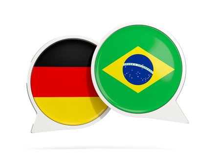 Chat bubbles of Germany and Brazil isolated on white. 3D illustration