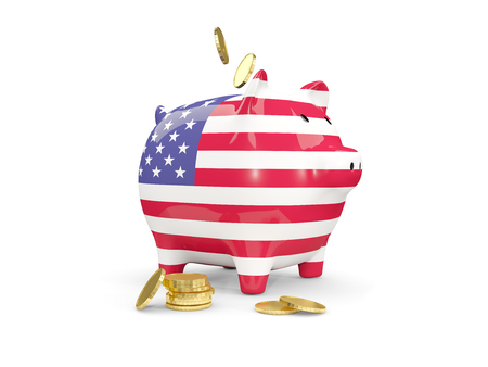 fag: Fat piggy bank with fag of united states of america and money isolated on white. 3D illustration