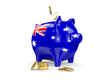 fag: Fat piggy bank with fag of australia and money isolated on white. 3D illustration