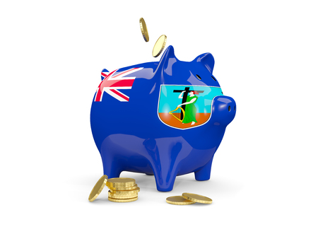 Fat piggy bank with fag of montserrat and money isolated on white. 3D illustration