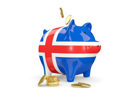 fag: Fat piggy bank with fag of iceland and money isolated on white. 3D illustration