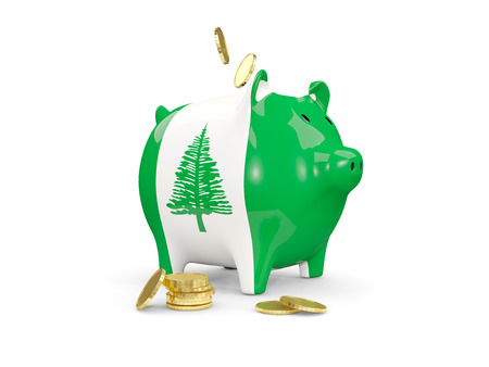 fag: Fat piggy bank with fag of norfolk island and money isolated on white. 3D illustration