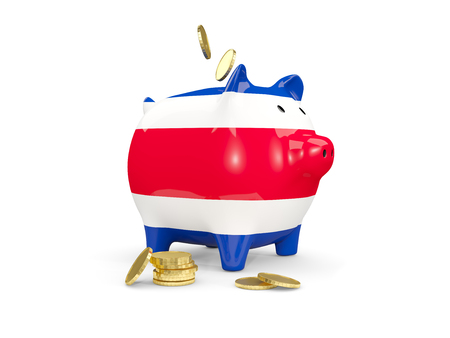 Fat piggy bank with fag of costa rica and money isolated on white. 3D illustration