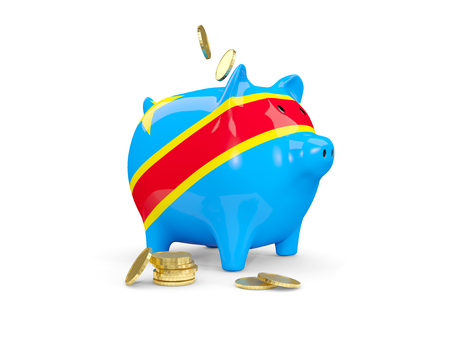 fag: Fat piggy bank with fag of democratic republic of the congo and money isolated on white. 3D illustration Stock Photo