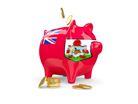 Fat piggy bank with fag of bermuda and money isolated on white. 3D illustration