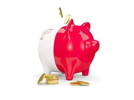 몰타와 화이트 절연 돈의 fag 지방 돼지 저금통. 3D 일러스트 레이션