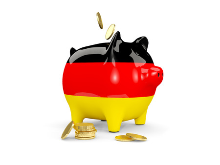 fag: Fat piggy bank with fag of germany and money isolated on white. 3D illustration