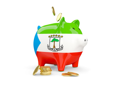 Fat piggy bank with fag of equatorial guinea and money isolated on white. 3D illustration