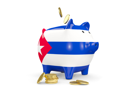 fag: Fat piggy bank with fag of cuba and money isolated on white. 3D illustration Stock Photo