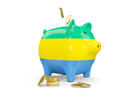 fag: Fat piggy bank with fag of gabon and money isolated on white. 3D illustration Stock Photo