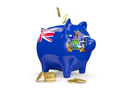 georgia: Fat piggy bank with fag of south georgia and the south sandwich islands and money isolated on white. 3D illustration