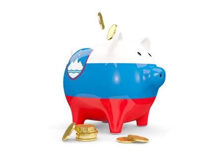 fag: Fat piggy bank with fag of slovenia and money isolated on white. 3D illustration