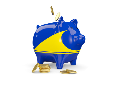 Fat piggy bank with fag of tokelau and money isolated on white. 3D illustration