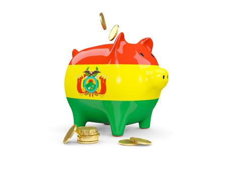 Hucha gorda con el marica de Bolivia y dinero aislado en blanco. Ilustración 3D Foto de archivo