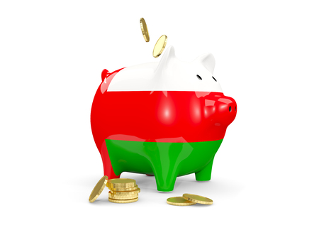 fag: Fat piggy bank with fag of oman and money isolated on white. 3D illustration Stock Photo