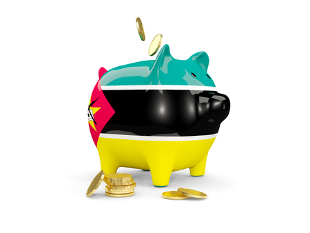 fag: Fat piggy bank with fag of mozambique and money isolated on white. 3D illustration Stock Photo