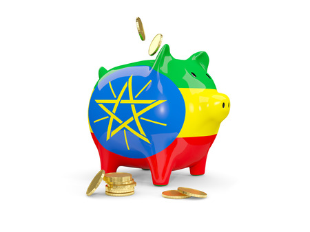 national flag ethiopia: Fat piggy bank with fag of ethiopia and money isolated on white. 3D illustration Stock Photo